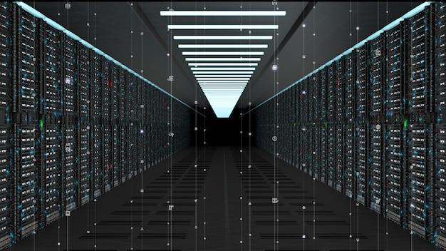 Server di rete di dati digitali in una sala server Foto Premium