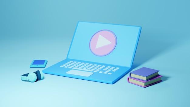 Formazione digitale in linea. 3d di computer, cellulare, apprendimento del libro sul telefono, sfondo del sito web mobile Foto Premium