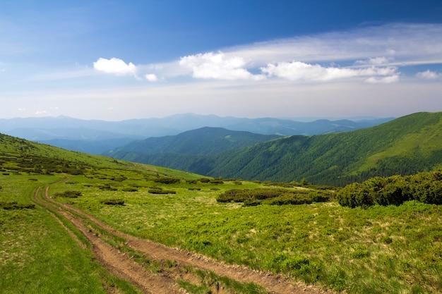 Pista dell'automobile della sporcizia sulla collina erbosa verde che conduce alla cresta boscosa delle montagne sul fondo luminoso dello spazio della copia del cielo blu. turismo e concetto di viaggio. Foto Premium