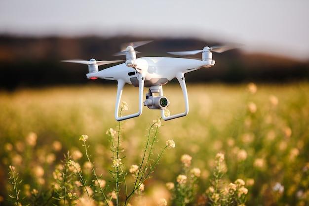 Drone quad elicottero sul campo giallo Foto Premium