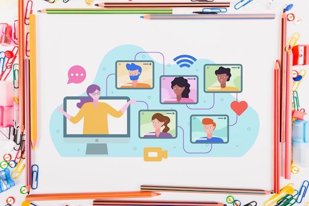 Illustrazione di e-learning su carta accanto a elementi educativi Foto Premium