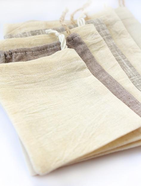 Borse a sacco in cotone ecologico naturale di lino Foto Premium