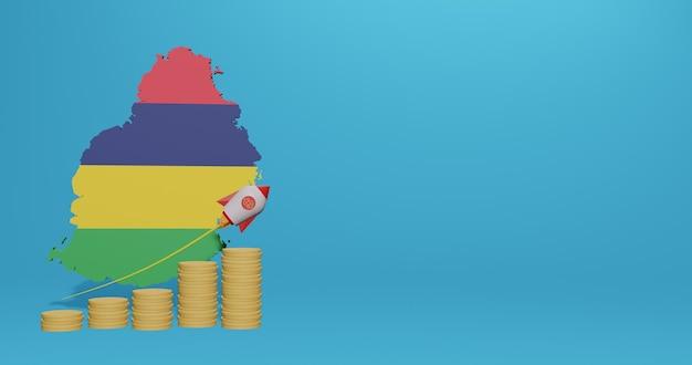 Crescita economica nel paese di mauritius per infografiche e contenuti dei social media in rendering 3d Foto Premium