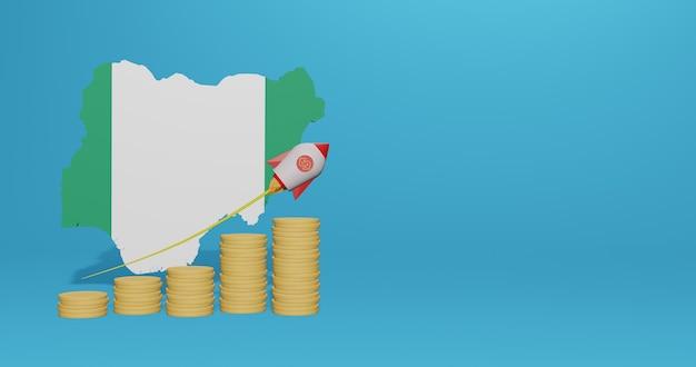 La crescita economica in nigeria per le esigenze dei social media tv e dello sfondo del sito web per coprire lo spazio vuoto può essere utilizzato per visualizzare dati o infografiche nel rendering 3d Foto Premium