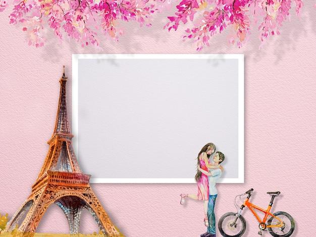 Torre eiffel parigi francia e coppia uomo donna tourrism e fiori rosa. abstract pittura ad acquerello illustrazione copia spazio testo, famosi famosi punti di riferimento dei mondi. Foto Premium