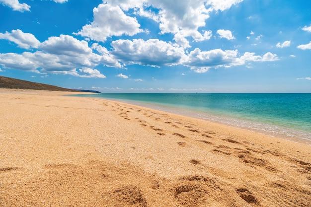Spiaggia dorata vuota e deserta con sabbia a conchiglia e mare azzurro cristallino. Foto Premium
