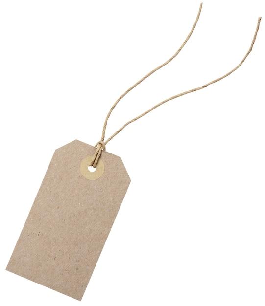 Modello di tag dello shopping vuoto. isolato su bianco con tracciati di ritaglio Foto Premium