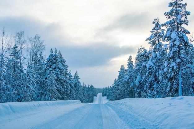 Autostrada invernale vuota attraverso un bosco innevato. sera finlandia Foto Premium