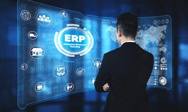 Sistema software erp enterprise resource management per piano di risorse aziendali Foto Premium
