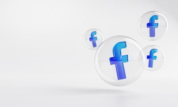 Facebook icona acrilica all'interno di vetro bolla copia spazio 3d Foto Premium