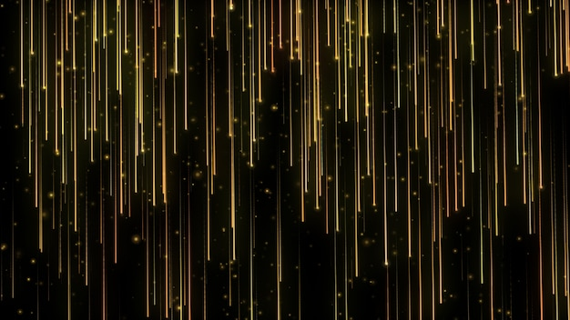 Particelle luminose che cadono. pioggia di particelle. luci volanti. scintillii luccicanti. movimento festivo. nero isolato. Foto Premium