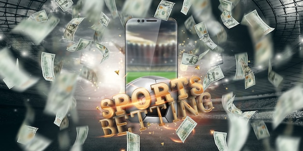 Dollari in calo e smartphone con la scritta scommesse sportive online. background creativo, gioco d'azzardo. Foto Premium