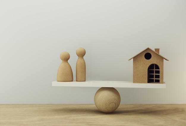 Famiglia e casa una bilancia in uguale posizione. gestione finanziaria familiare, anticipo in contanti Foto Premium