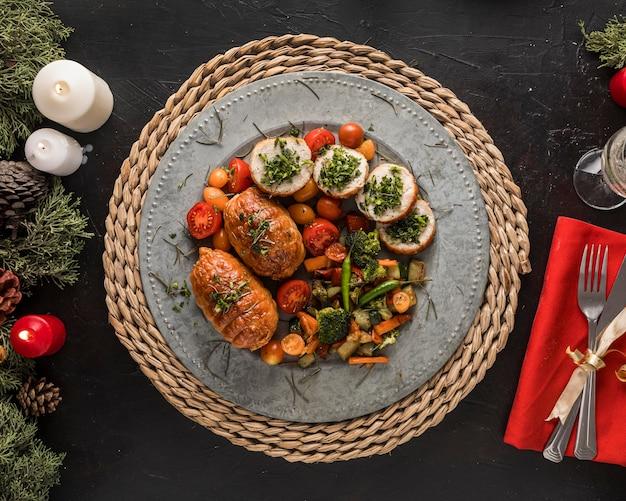 Assortimento festivo del pasto di natale Foto Premium