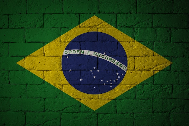 Bandiera con proporzioni originali. primo piano della bandiera del grunge del brasile Foto Premium