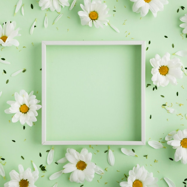 Disposizione piana di bello concetto floreale con lo spazio della copia Foto Premium