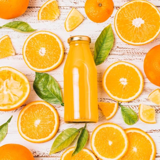 Piatto disposizione bella arancia Foto Premium