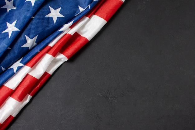 Bandiera usa laica piatta con copia-spazio Foto Premium
