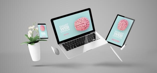 Dispositivi galleggianti che mostrano rendering 3d di progettazione di siti web reattivi intelligenti Foto Premium