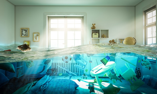 Camera da letto allagata piena di giocattoli galleggianti nell'acqua. Foto Premium