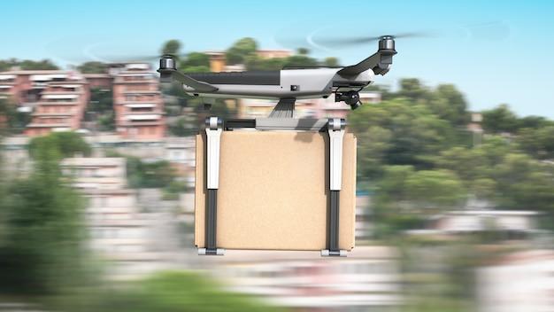 Drone cargo volante trasporta una scatola di cartone. Foto Premium