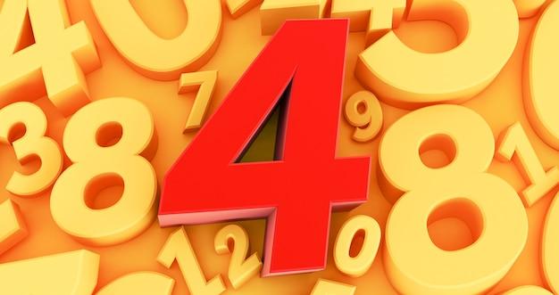 Quattro numeri rossi al centro. raccolta di numeri rossi 3d - 4 Foto Premium
