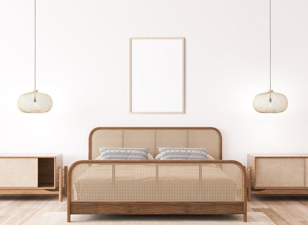 Mockup di cornice nel mockup interno della camera da letto luminosa Foto Premium