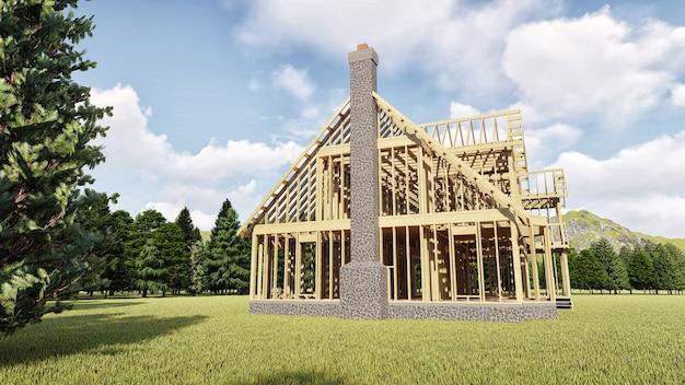 La cornice della casa in legno su fondamenta in cemento con camino e camino Foto Premium
