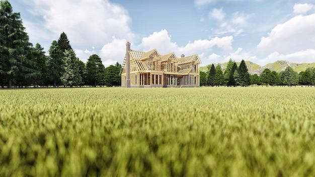 La cornice di una casa di legno su una fondazione in cemento con un camino e un camino Foto Premium
