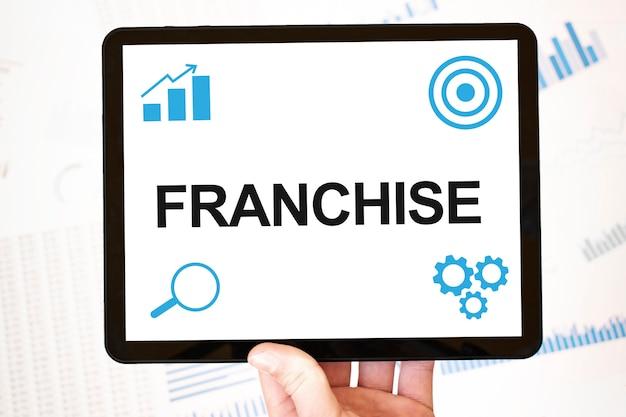 Franchising. concetto di pagina web aziendale di tecnologia di strategia. obiettivi Foto Premium
