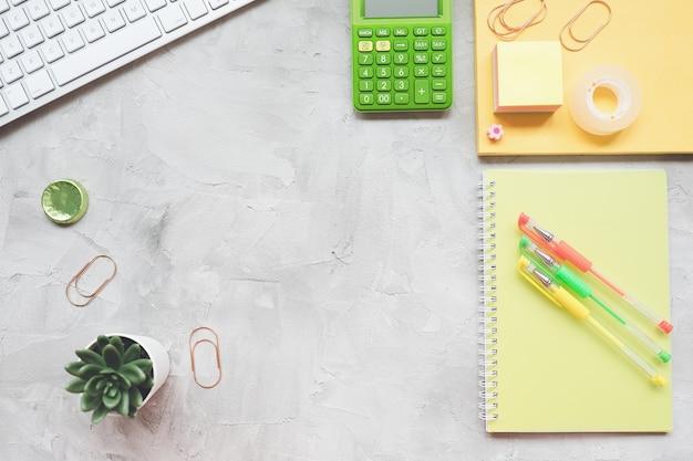 Area di lavoro freelance home office desk con laptop, notebook, piante grasse, calcolatrice su grigio, piatto lay Foto Premium