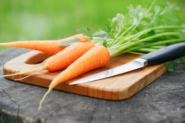 Mazzo di carote fresche su legno rustico Foto Premium