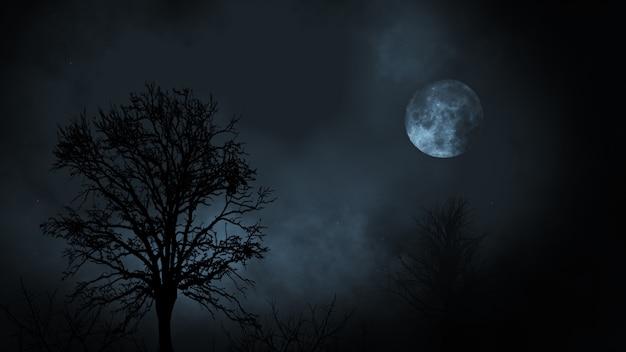 Luna piena di notte che sorge tra la foresta di alberi sempreverdi con nuvole Foto Premium