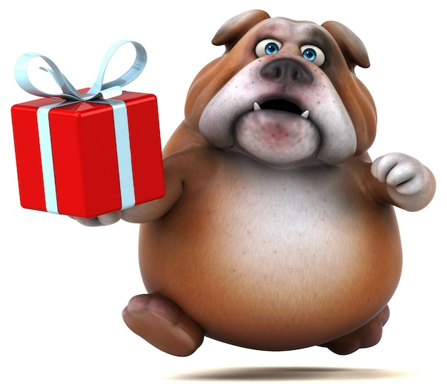 Fun bulldog - illustrazione 3d Foto Premium