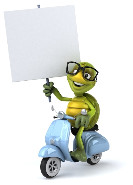 Illustrazione divertente della tartaruga Foto Premium