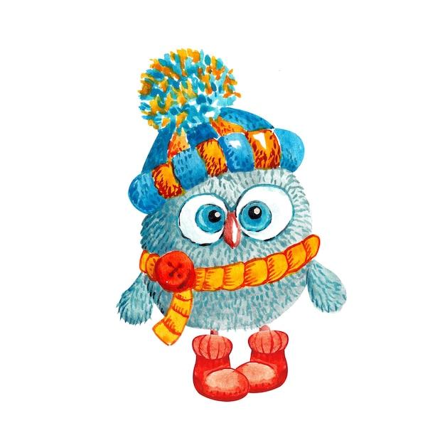 Gufo divertente in un cappello lavorato a maglia con un pompon e una sciarpa su bianco Foto Premium