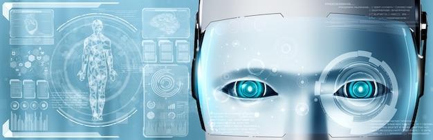 Tecnologia medica futura controllata dal robot ai che utilizza l'apprendimento automatico e l'intelligenza artificiale per analizzare la salute delle persone e fornire consigli sulle decisioni in merito al trattamento sanitario. illustrazione 3d. Foto Premium