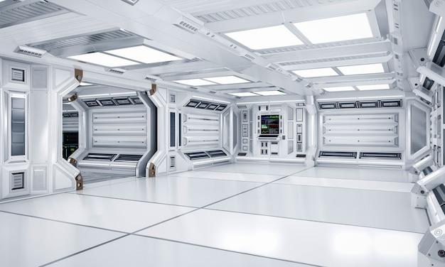 Interno futuristico di corridoio e del corridoio di fantascienza di architettura, rappresentazione 3d Foto Premium