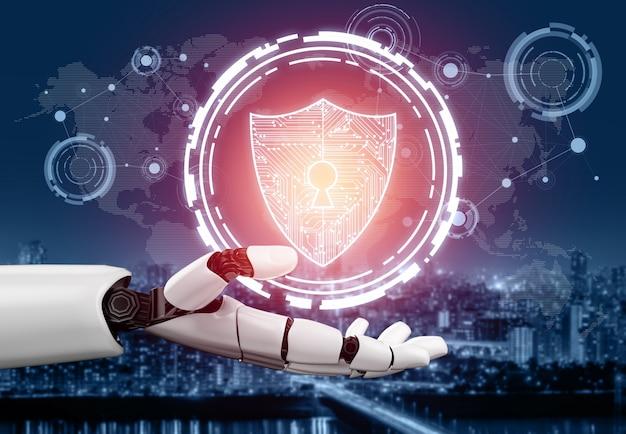 Concetto futuristico di intelligenza artificiale del robot. Foto Premium