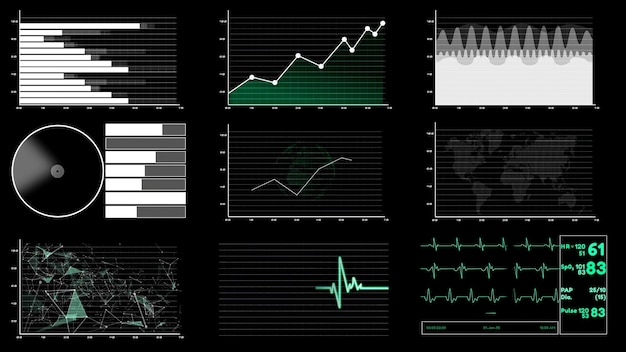 Cruscotto futuristico dell'interfaccia utente per l'analisi dei big data nel grafico delle informazioni Foto Premium