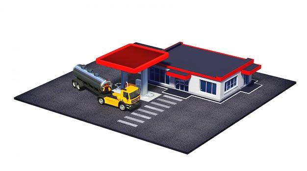 Distributore di benzina con camion semi-carburante e mini-market o caffetteria Foto Premium
