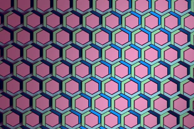 Motivo geometrico con ripetuti esagoni strutturati colorati in verde blu e rosa. Foto Premium