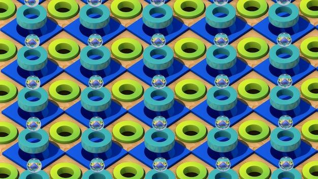 Sfere di vetro, anelli verdi, cubi blu e di legno. illustrazione astratta, rendering 3d. Foto Premium