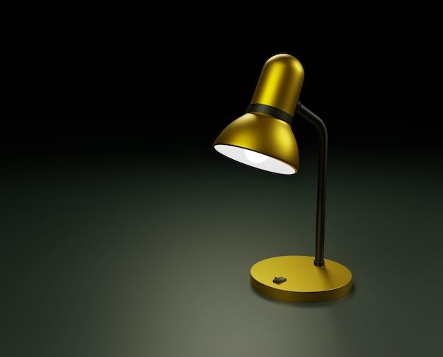 Una lampada color oro con una superficie metallica liscia illumina una piccola area Foto Premium