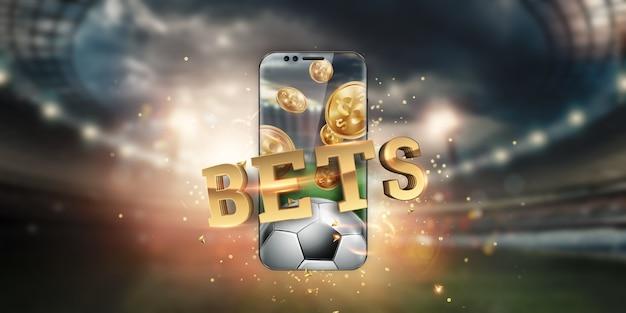 Iscrizione in oro scommesse sportive su uno smartphone sullo sfondo dello stadio. Foto Premium