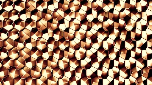 Trama di sfondo in metallo oro. illustrazione 3d, rendering 3d. Foto Premium