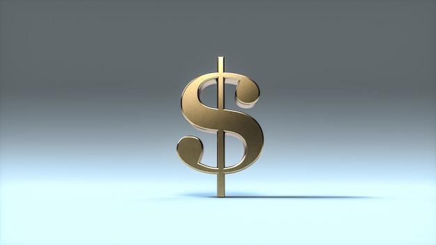 Simbolo del dollaro d'oro su sfondo blu morbido. segno del dollaro in metallo. rendering 3d. Foto Premium