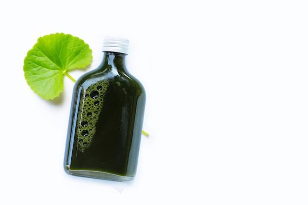 Gotu kola lascia il succo per la salute sulla superficie bianca Foto Premium