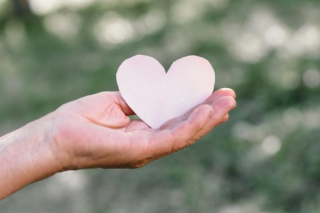 La mano della nonna tiene un cuore Foto Premium