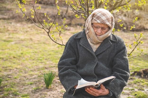 La nonna legge la bibbia delle sacre scritture. pensare a dio Foto Premium